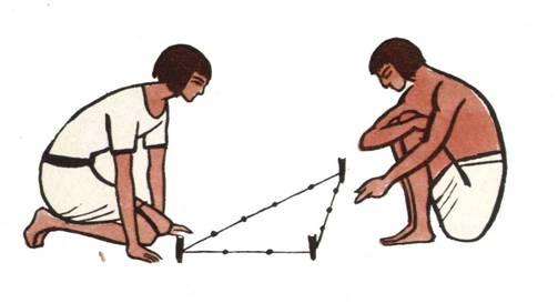 Проверка углов фундамента с помощью египетского треугольника